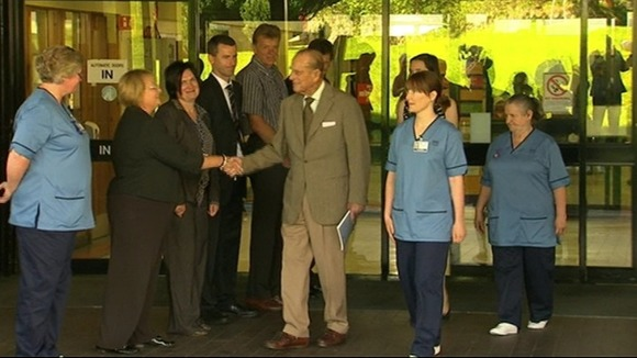 Prince Philip leaves Aberdeen Royal Infirmary.