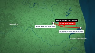 The Acle Straight in Norfolk is closed due to a crash.