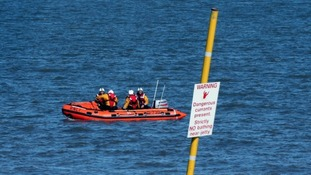 A RNLI crew at the scene in Burnham-on-Sea, Somerset