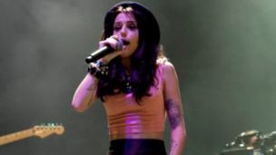 Cher Lloyd performing at V Festival yesterday.