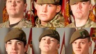 From top left: Sergeant Coupe, Corporal Hartley and Private Frampton. From bottom left: Private Kershaw, Private Wade and Private Wilford
