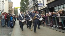 The Air Cadets Band lead the parade through Exeter