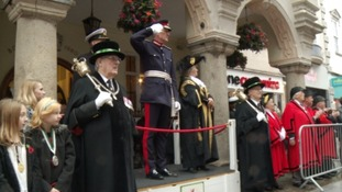 The Lord Lt of Devon took the salute alongside the Lord Mayor of Exeter