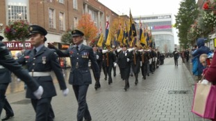 Bands, cadets, and military veterans paraded through the centre of Exeter