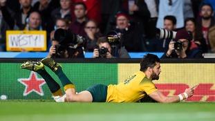 Australia's Adam Ashley-Cooper celebrates one of his two tries.