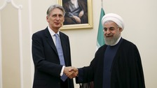 Defence Secretary Hammond and President Rohani