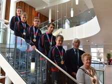 The special olympians with the mayor