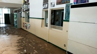 Flood damage in Joseph Swan Academy