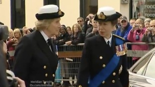 Princess Royal salutes sailors