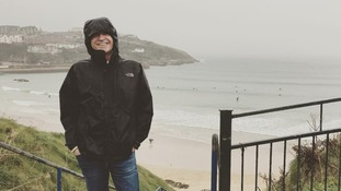 Phillip Schofield taking a break in Cornwall - all be it a wet and windy one.