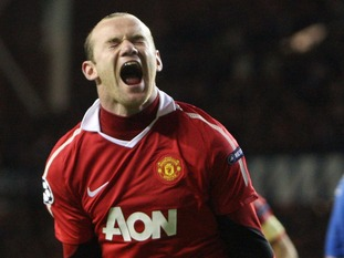 Manchester United's Wayne Rooney celebrates a winning goal.