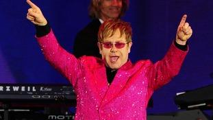 Sir Elton John on stage outside Buckingham Palace during the Diamond Jubilee Concert