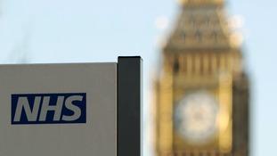 NHS sign at St Thomas' Hospital, central London