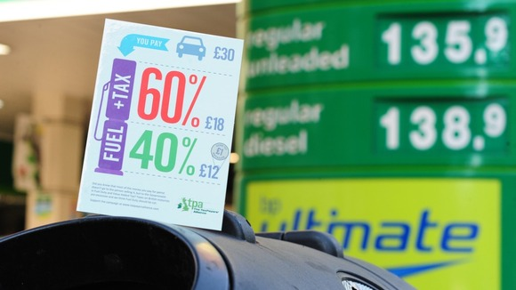 Fuel Tax Stand on a forecourt showing drivers where their money goes