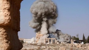 The picture released by Islamic State purportedly shows the Baal Shamin temple in Palmyra, Syria, being destroyed
