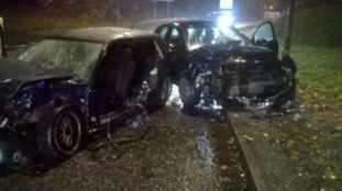 The two cars that collided in Telford on Tuesday evening.