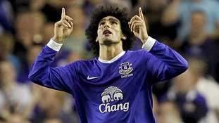 Robin van Persie's debut for Manchester United failed to prevent Everton's 1-0 win thanks to a Marouane Fellaini winner