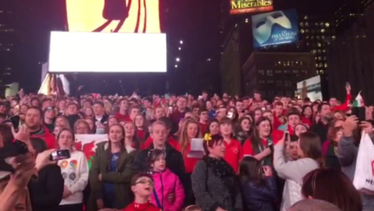 Welsh Pupils Wow Times Square With National Anthem Flash