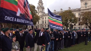 People gather to support former Royal Marine