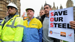 Steelworkers gather in Westminster to lobby MPs to prevent further job losses in the UK steel industry