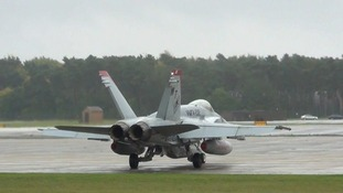 An F-18 preparing for takeoff at RAF Lakenheath.
