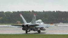 An F-18 preparing for takeoff at RAF Lakenheath.