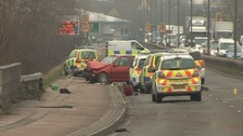 Crash scene on A33