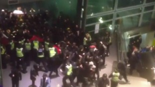 Protesters at St Pancras