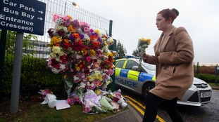 Pupils have been arriving at the school gates to leave flowers