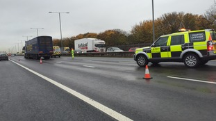 Emergency vehicles rescued the stranded lorry