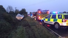 Road now open following overturned coach on A141