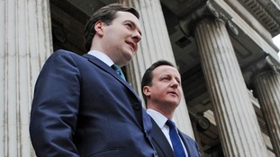 George Osborne and David Cameron campaigning on a pro-business pitch at the British Museum in 2010