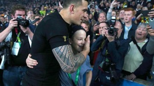 Rugby World Cup: New Zealand's Sonny Bill Williams gives winners medal to young fan