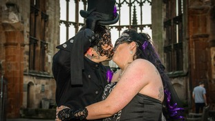 The couple's wedding had a gothic theme