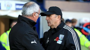 Leicester City manager Claudio Ranieri shakes hands with West Bromwich Albion manager Tony Pulis before the match