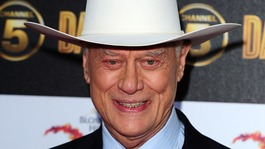 Larry Hagman arrives at the Dallas launch party