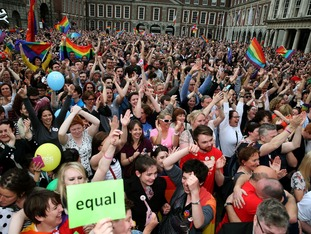 Campaigners celebrate in Dublin after the Yes vote in the Irish referendum