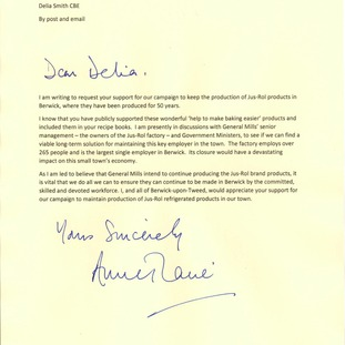 The letter from Anne-Marie Trevelyan MP to celebrity chef Delia Smith