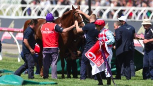 Red Cadeaux fails to finish the race in Melbourne.