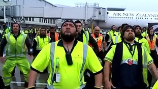 Airport staff perform homecoming haka for victorious All Blacks