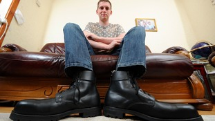 Charity steps in to buy workboots for man with size 21 feet