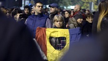Romania fire protest