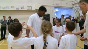 Daniel Sturridge meets pupils