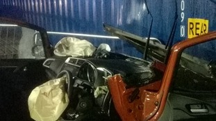 The car after cutting gear was used to get the man out