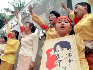 Myanmar citizens stage a noisy protest.