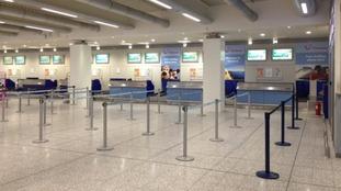 Empty Thomson desks at Bristol Airport