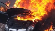 Lisa Taperek's car moments after she pulled her son out of it.