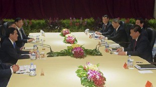 The leaders sit down for talks