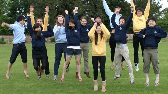 Students at Concord College jump for joy
