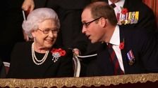 The Queen and the Duke of Cambridge at the Royal British Legion Festival of Remembrance.